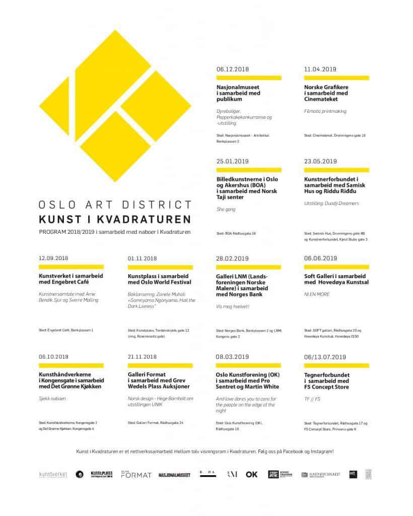 Bilde av programmet til Kunst i kvadraturen høsten 2018 og våren 2019.