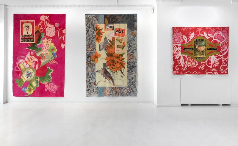 Fra Irene Myrans utstilling Sonate på SOFT galleri i 2019. Bilder viser tre verk i tekstil.
